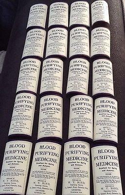 20 Old VINTAGE ORIGINAL Blood Purifying Medicine Bottle Labels
