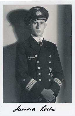 Heinrich Liebe signed photo. Cpt U-38. Kriegsmarine Oakleaves winner.