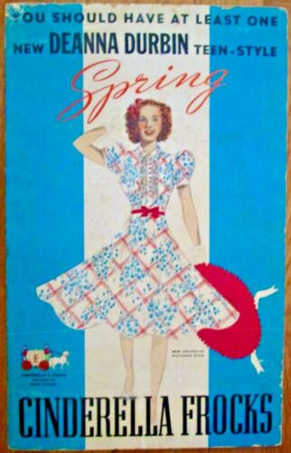 Scarce Cinderella Frock featuring Deanna Durbin easel back sign 1936
