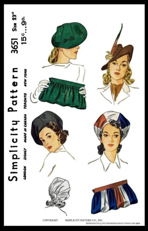 Cap Hat & BAG BERET Fascinator Vintage 1940