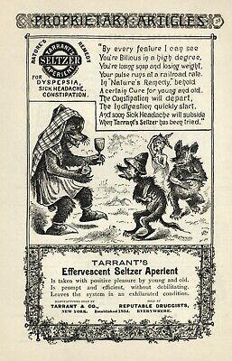TARRANT'S EFFERVESCENT SELTZER APERIENT Vintage 1887 Advertisment - Illustrated
