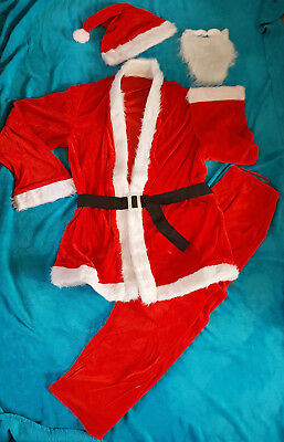 WEIHNACHTSMANN KOSTÜM ANZUG NIKOLAUS MÜTZE BART Weihnachten Gürtel SCHWARZ