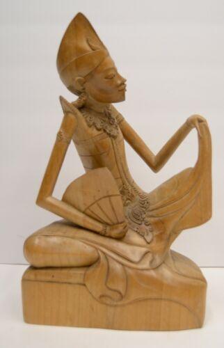 "Finely Carved Indonesian Bali Wood 12"" Figure Statue Sculpture Vtg MCM Antique"