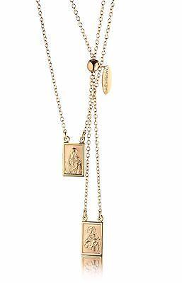 Our Lady Mt Carmel & Sacred Heart Jesus Rose Gold Silver 925 Scapular Necklace
