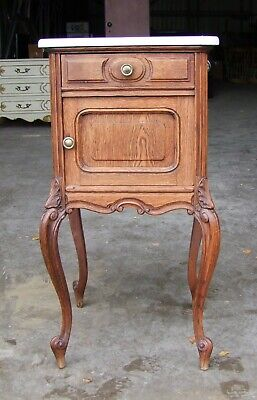 LOUIS XV STYLE FRENCH CARVED OAK MARBLE TOPPED BEDSIDE CABINET - (SVSOMTBC9)