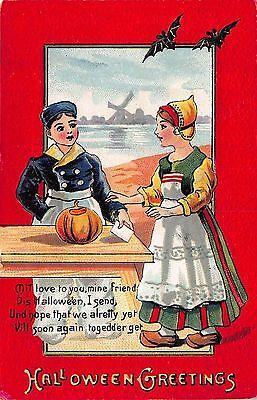 Halloween Postcard Dutch Children with a Pumpkin, Bats, Windmill~108619