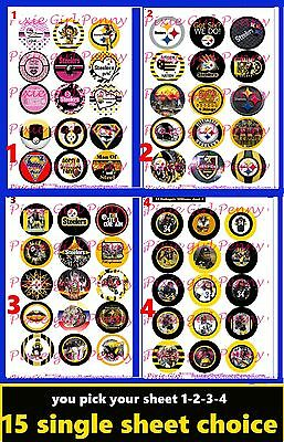 Pittsburgh Steelers You pIck Sheet #1-2-3-4-5 Bottle Cap Images Cup cake toppers (Steelers Cupcake Toppers)