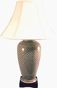 Large Victorian Style Ceramic Table Lamp With Cream Fabric Shade GJ074
