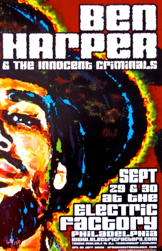 Ben Harper & The Innocent Criminals Poster 2001 Concert