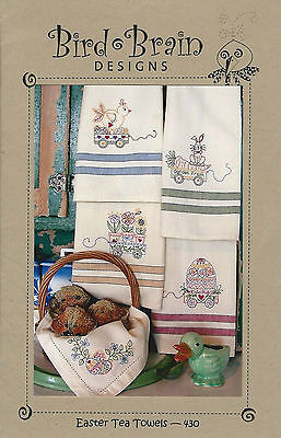 Easter Tea Towels #430 ~ Bird Brain Designs ~ Embroidery Dishtowel Patterns