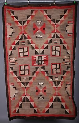 Early Navajo rug, blanket Native American textile, weaving whirling log large
