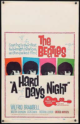 """A HARD DAYS NIGHT 1964 14""""x22"""" unfolded Exc/NM poster The Beatles filmartgallery"""