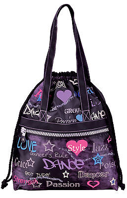 GirlsTeen Black Attitude Drawstring Dance Tote Bag Hip Hop, Ballet, Tap New