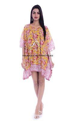 Mujer Kaftán Kimono Vestido Verano Playa Ropa de Abrigo Talla Grande Corto...
