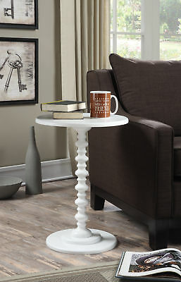 Convenience Concepts Palm Beach Spindle End Table, White Fin