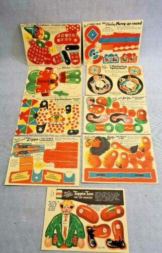 9 1947 Post Cereal Premium Circus Punch Out Clowns Animals Trapeze Toy Lot of 9