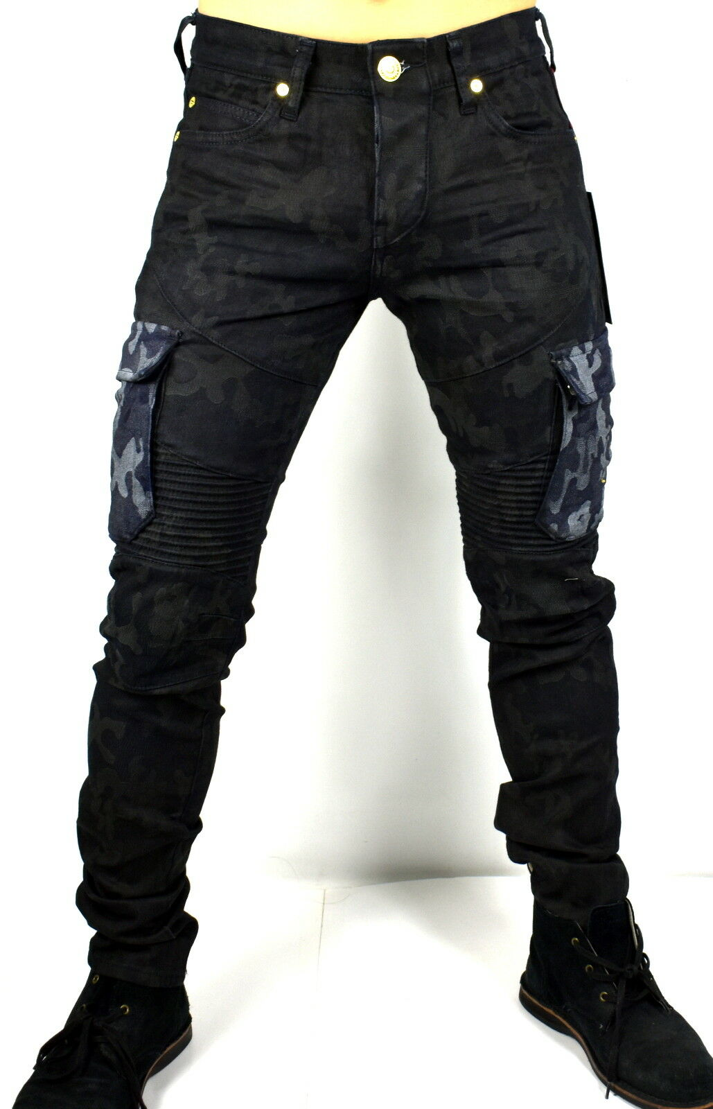 True Religion $329 Men's Rocco Skinny Black Camo Cargo Moto Jeans - MDAD09224Y