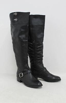 KELSI DAGGER Ladies Vivian Black Leather Knee High Side Zip Boots UK6 US8.5M NEW
