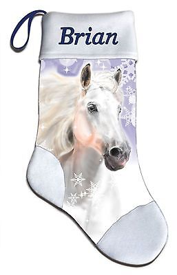 Christmas Stocking Personalized (NEW Personalized White Horse Stallion Lover Christmas Stocking Embroidered)