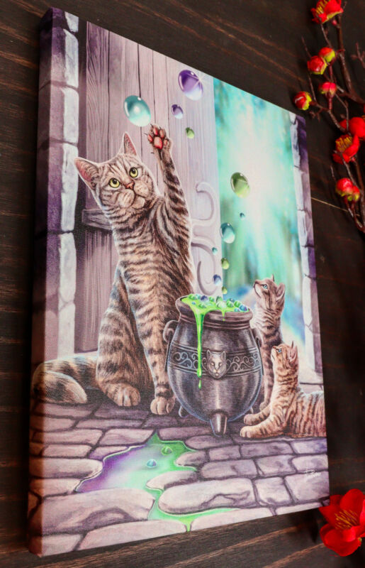 Witch Hubble Hubble Cat And Kittens Magic Cauldron Wood Framed Canvas Wall Decor