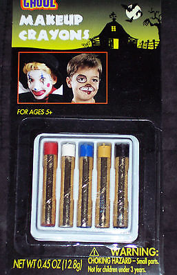 Halloween Clown Make Up (Make-up crayons,5 primary colors,costumes,parties,clown,face)