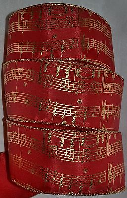 (Wired Ribbon~Christmas Red~Metallic Gold Music Notes~2.5
