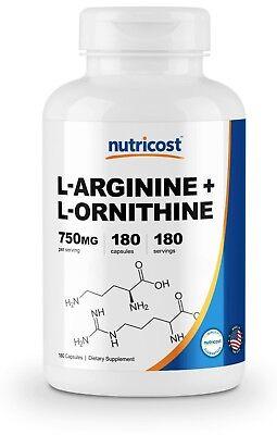 Nutricost L-Arginine L-Ornithine 750mg, 180 Capsules - Non-GMO & Gluten Free for sale  Orem