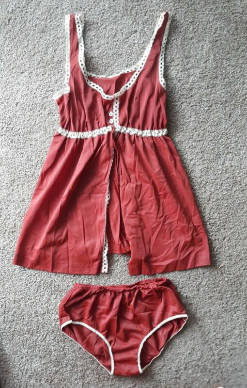 Vintage Formfit Rogers Baby Doll Nightgown and Panties Brown White Lace Sz S