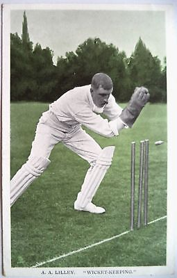 "ARTHUR LILLEY WARWICKS & ENGLAND 1907 ""IN THE OPEN"" RAPH TUCK CRICKET POSTCARD"