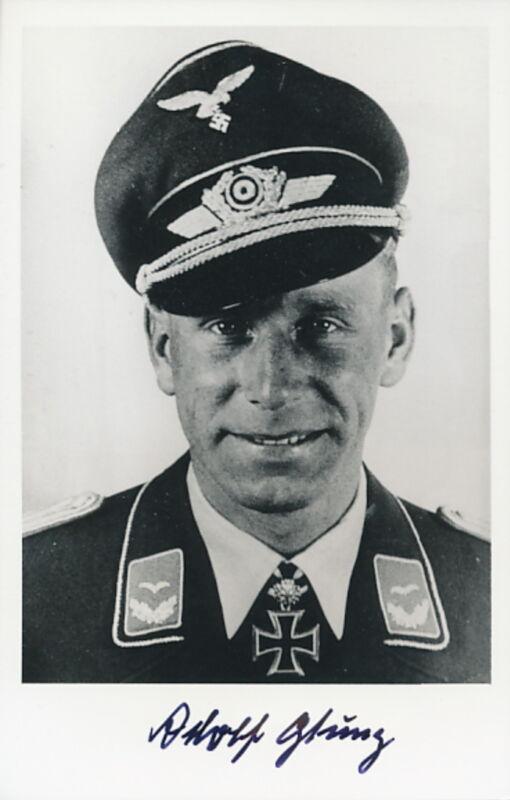 Adolf Glunz signed photo-Luftwaffe Ace.