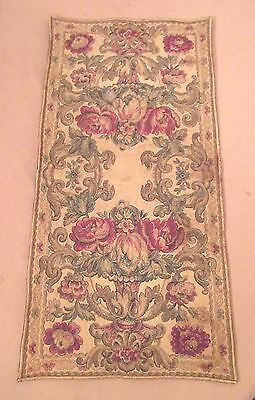 antique ornate embroidered centerpiece table mat runner linen needlepoint 23 in.