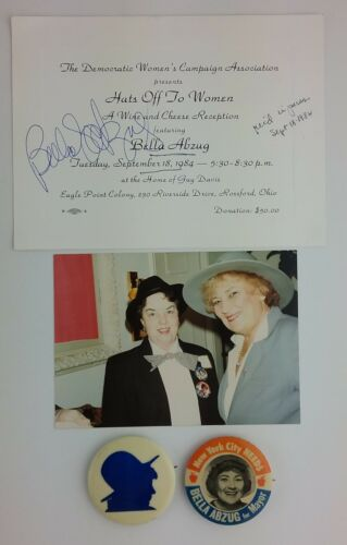 Bella Abzug Original Photo Autograph & Pins Congresswoman Social Activist Vtg