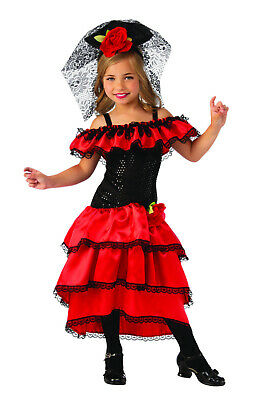 Spanish Dancer Fancy Dress (Spanish Dancer Salsa Samba Rumba Flamenco Girls Fancy Dress Costume)