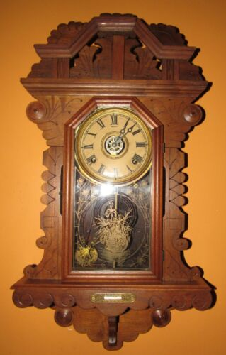ANTIQUE E. INGRAHAM HANGING KITCHEN WALL CLOCK WITH ALARM 8-DAY, TIME/STRIKE