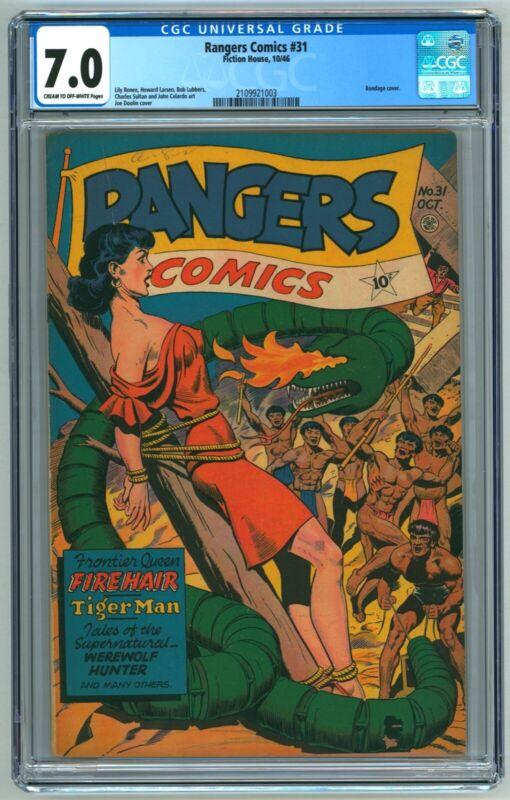 Rangers Comics #31 CGC 7.0 (10/1946, Fiction House) Joe Doolin Bondage Cover