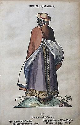 SPANIEN MULIER HISPANICA FRAU HOLZSCHNITT AMMAN WEIGEL TRACHTEN BUCH 1577