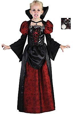 Kinderfaschingskostüm Königin der Vampire Gr. 122/134 Blut Gebiss Makeup Mädchen (Kostüme Der Vampire)