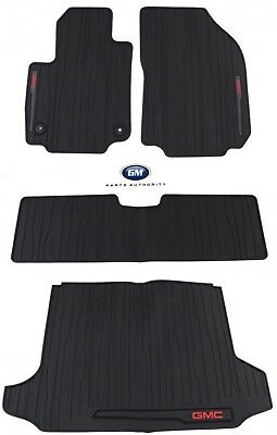 2018-2019 GMC Terrain Front Rear & Cargo All Weather Floor Mats Black OEM GM