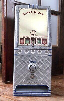 Antique Silver-Queen Vender Gum Dispenser Vending Machine w/ Key Original RARE