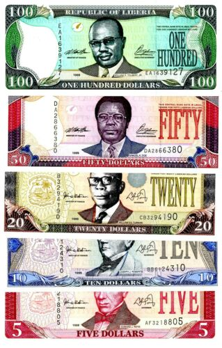 Liberia  … P-21a-25a … 5-100 Dollars … 1999 … Choice *UNC*.  Set of 5 Notes.