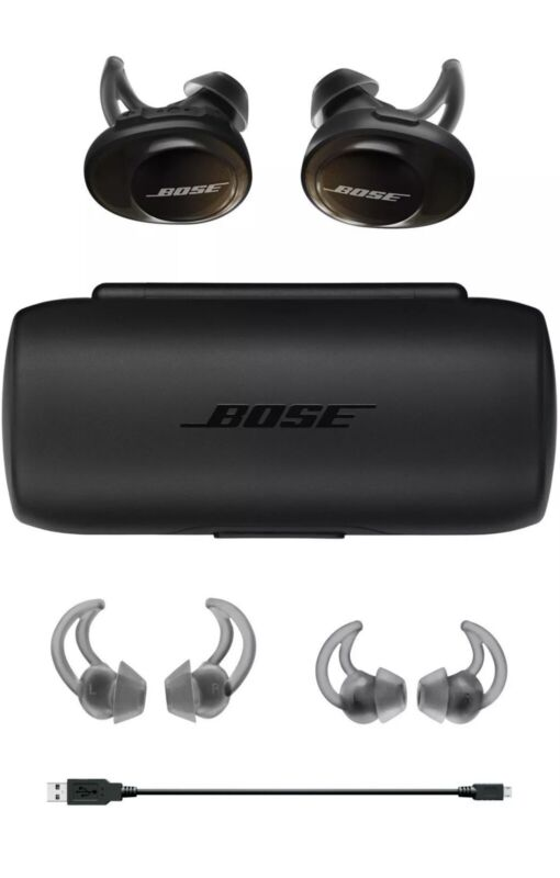 BOSE SOUNDSPORT FREE WIRELESS EARBUDS W/ CHARGING CASE BLACK 1-YEAR WARRANTY