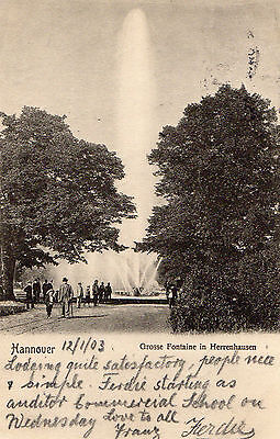 OLD POSTCARD - GERMANY - Hannover - Grosse Fontaine in Herrenhausen - 1903