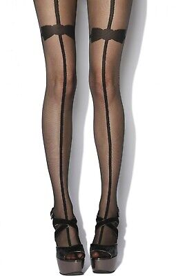 Jonathan Aston Black Tuxedo Tights Faux Stockings With Bow Tie Sample BN Small
