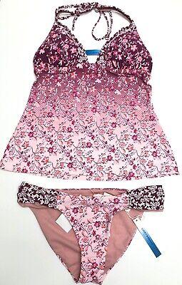 Lucky Brand Swimsuit Tankini Bikini 2 Piece Set Size XS Medium Floral Pink NWT ()