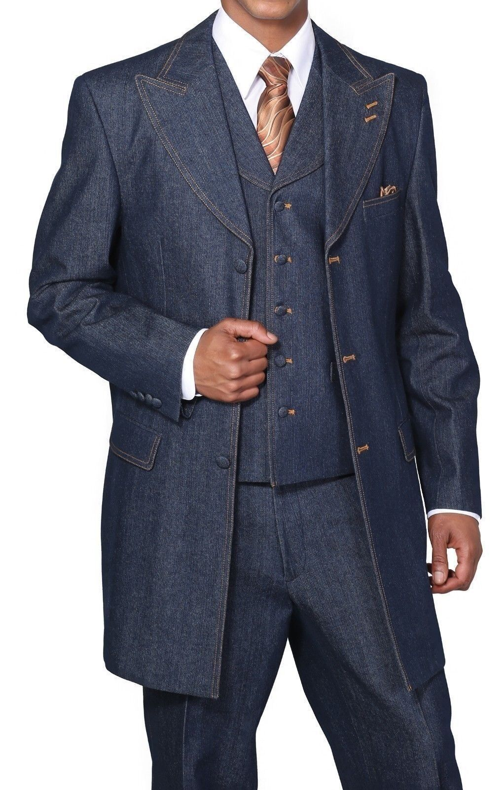 The denim suit with wide leg pants will take you there. You can guarantee your club success with the ladies in one of these Fashionable Mens Denim Suits with the wide leg pants. Mens Fashion suits like these made of full Denim fabric and are strictly for the fashion minded man who knows what he likes and knows how to get it.
