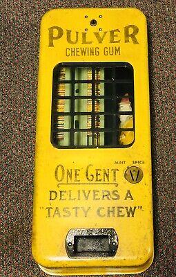 """Pulver """"YELLOW CLOWN"""" 1 Cent Chewing Gum Machine With ORIGINAL 1940's GUM + keys"""