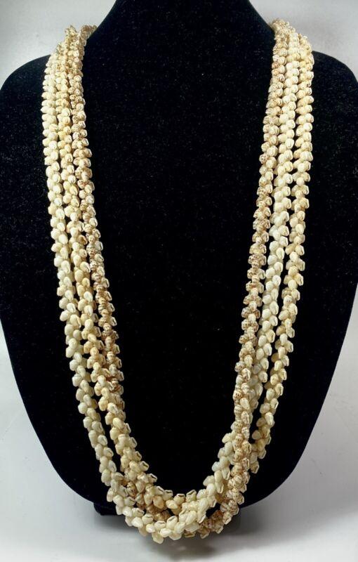 "Vintage Hawaiian 95% Niihau Lei Shell Necklace Wedding Pikake 36"" 3 Strand Momi"