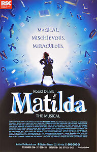 MATILDA BROADWAY WINDOW CARD - BERTIE CARVEL, OONA LAURENCE