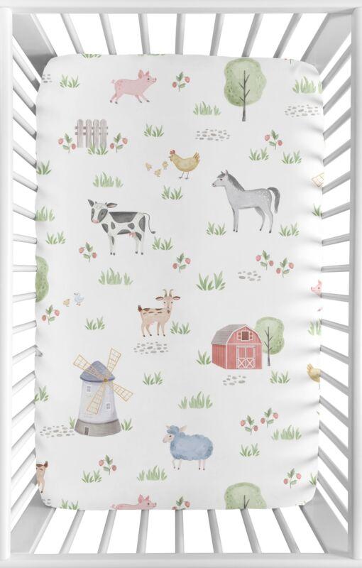 Farm Animals Watercolor Sweet Jojo Boy Girl Fitted Mini Crib Sheet Baby Nursery