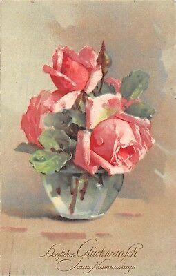 AK Litho. Künstlerkarte C. Klein Rosen zum Namenstag HWB Postkarte gel. 1926